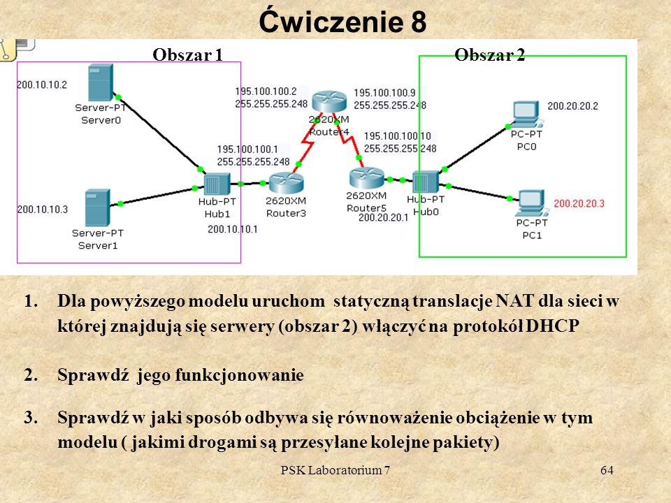 PSK Laboratorium 764 Ćwiczenie 8 1.Dla powyższego modelu uruchom statyczną translacje NAT dla sieci w której znajdują się serwery (obszar 2) włączyć n