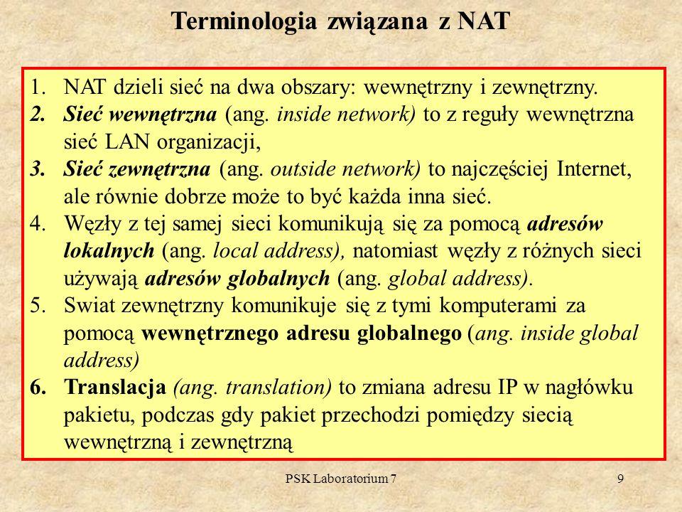 PSK Laboratorium 79 Terminologia związana z NAT 1.NAT dzieli sieć na dwa obszary: wewnętrzny i zewnętrzny. 2.Sieć wewnętrzna (ang. inside network) to