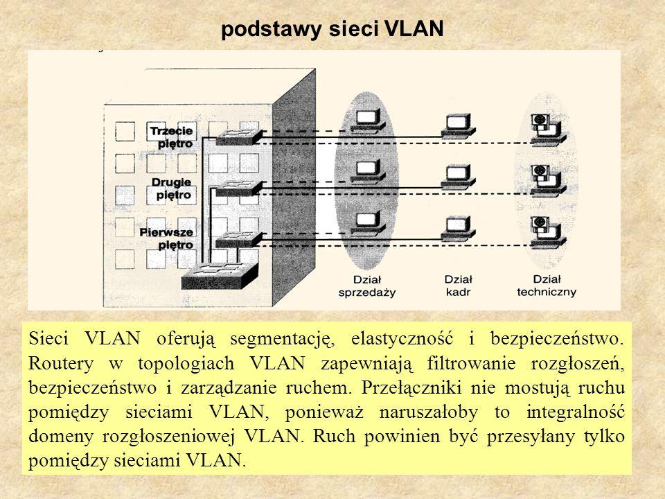PSK Laboratorium 812 podstawy sieci VLAN Sieci VLAN oferują segmentację, elastyczność i bezpieczeństwo. Routery w topologiach VLAN zapewniają filtrowa