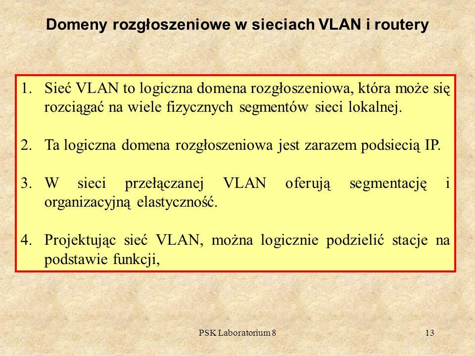 PSK Laboratorium 813 Domeny rozgłoszeniowe w sieciach VLAN i routery 1.Sieć VLAN to logiczna domena rozgłoszeniowa, która może się rozciągać na wiele