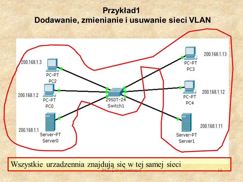 PSK Laboratorium 816 Przykład1 Dodawanie, zmienianie i usuwanie sieci VLAN Wszystkie urzadzennia znajdują się w tej samej sieci
