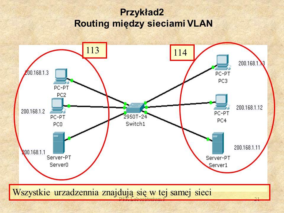 PSK Laboratorium 821 Przykład2 Routing między sieciami VLAN Wszystkie urzadzennia znajdują się w tej samej sieci 113 114