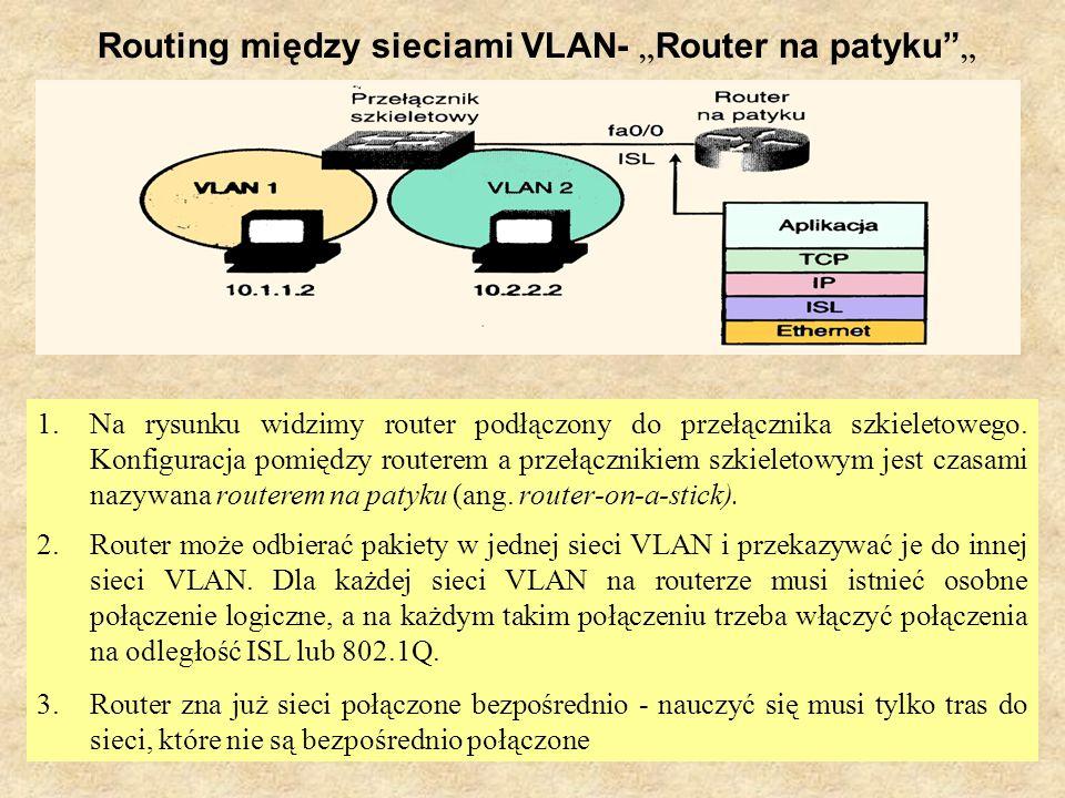 PSK Laboratorium 824 Routing między sieciami VLAN- Router na patyku 1.Na rysunku widzimy router podłączony do przełącznika szkieletowego. Konfiguracja