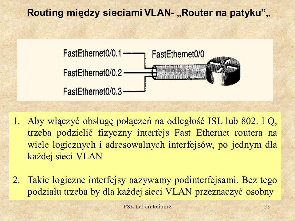 PSK Laboratorium 825 1.Aby włączyć obsługę połączeń na odległość ISL lub 802. l Q, trzeba podzielić fizyczny interfejs Fast Ethernet routera na wiele