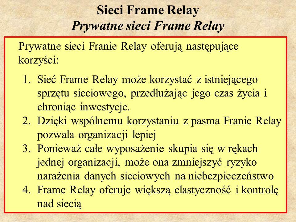 SK Laboratorium 616 Sieci Frame Relay Prywatne sieci Frame Relay Prywatne sieci Franie Relay oferują następujące korzyści: 1.Sieć Frame Relay może kor