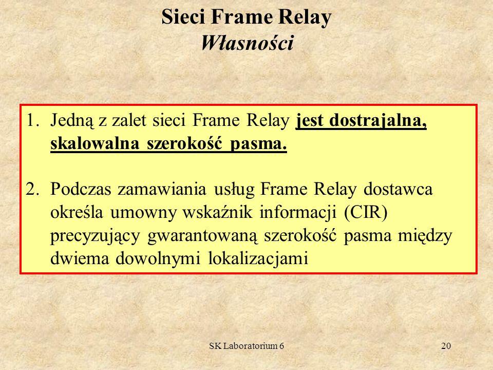 SK Laboratorium 620 1.Jedną z zalet sieci Frame Relay jest dostrajalna, skalowalna szerokość pasma. 2.Podczas zamawiania usług Frame Relay dostawca ok