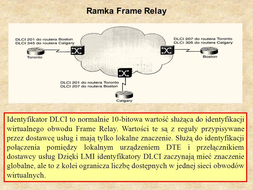 SK Laboratorium 626 Ramka Frame Relay Identyfikator DLCI to normalnie 10-bitowa wartość służąca do identyfikacji wirtualnego obwodu Frame Relay. Warto