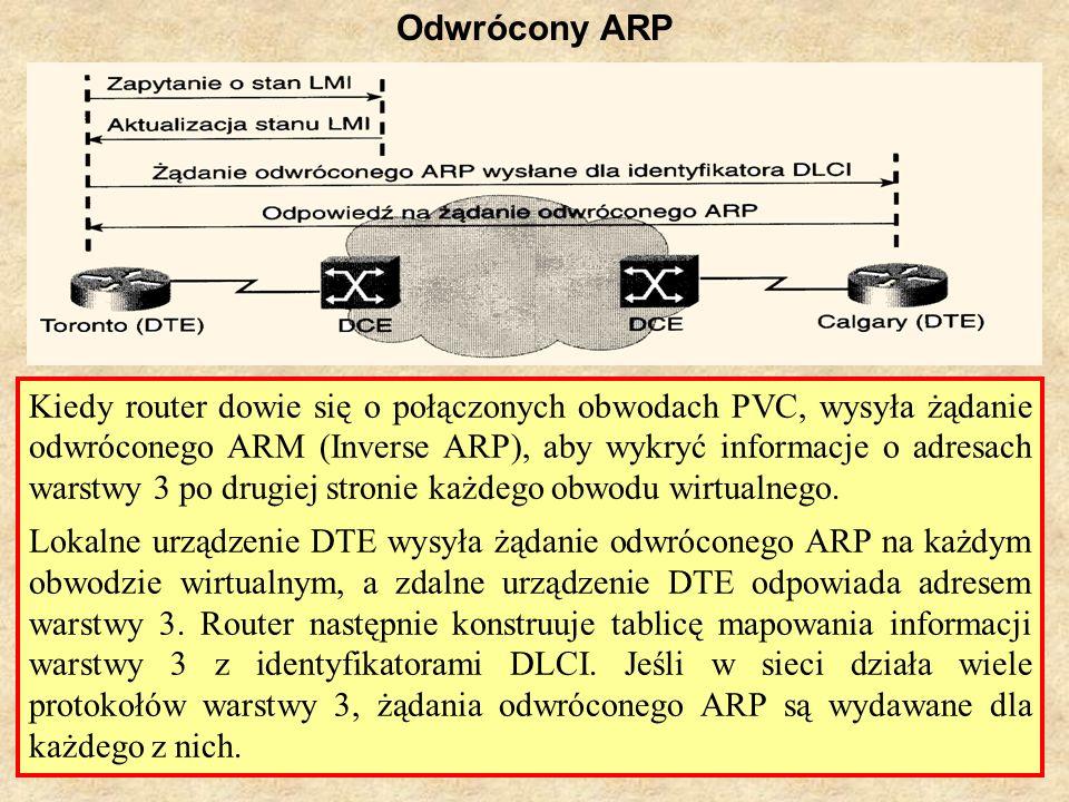 SK Laboratorium 629 Odwrócony ARP Kiedy router dowie się o połączonych obwodach PVC, wysyła żądanie odwróconego ARM (Inverse ARP), aby wykryć informac