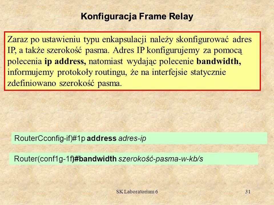 SK Laboratorium 631 Konfiguracja Frame Relay Zaraz po ustawieniu typu enkapsulacji należy skonfigurować adres IP, a także szerokość pasma. Adres IP k