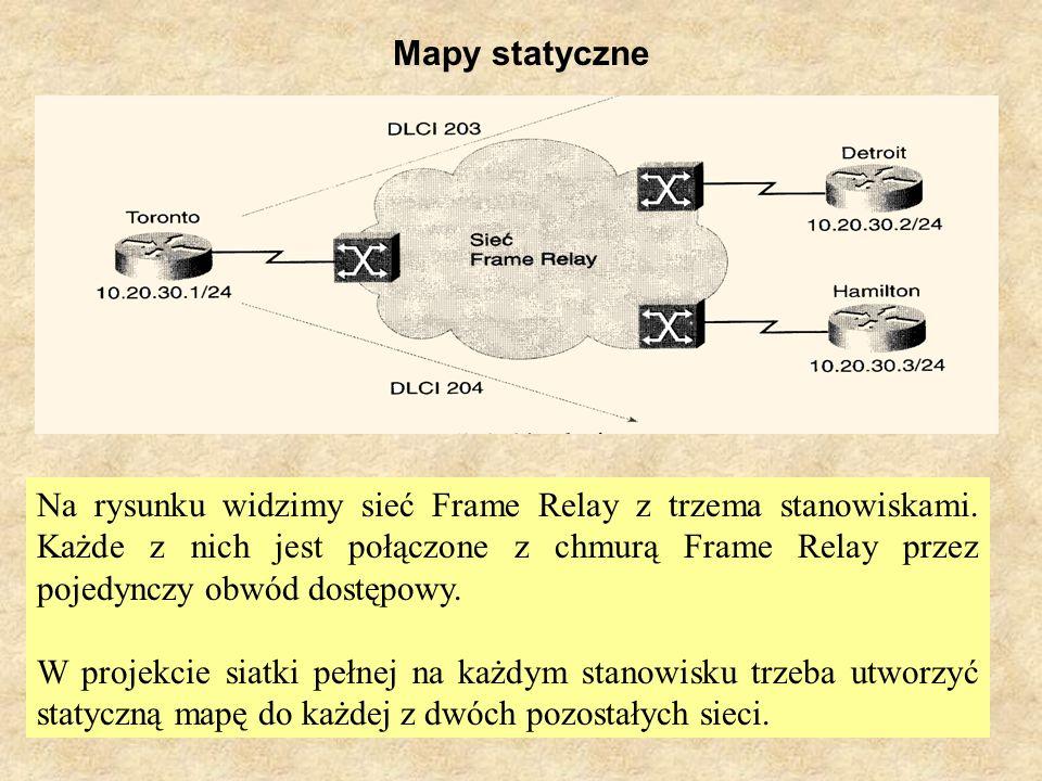 SK Laboratorium 634 Mapy statyczne Na rysunku widzimy sieć Frame Relay z trzema stanowiskami. Każde z nich jest połączone z chmurą Frame Relay przez p