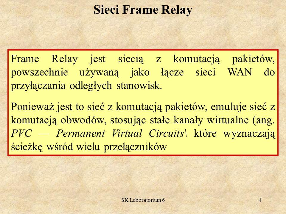 SK Laboratorium 625 Ramka Frame Relay Działanie Frame Relay polega na enkapsulacji pakietu protokołu warstwy sieci, na przykład IP lub IPX, jako części danych ramki Frame Relay, a następnie przesłaniu tej ramki do warstwy fizycznej w celu przekazania dalej.