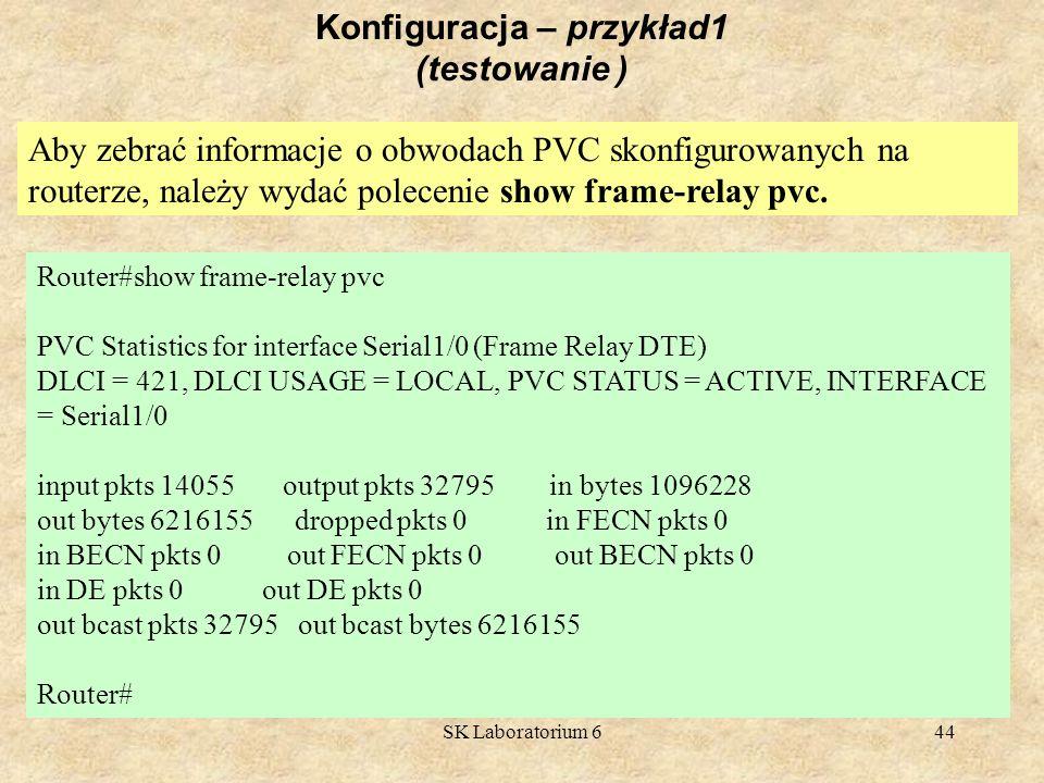SK Laboratorium 644 Konfiguracja – przykład1 (testowanie ) Aby zebrać informacje o obwodach PVC skonfigurowanych na routerze, należy wydać polecenie s