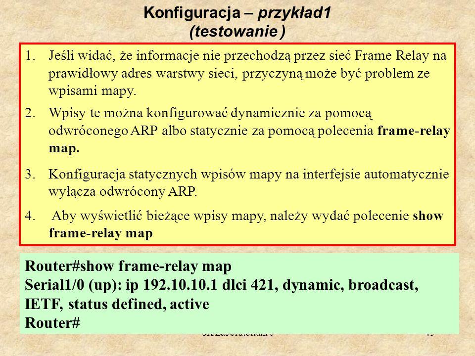 SK Laboratorium 645 Konfiguracja – przykład1 (testowanie ) 1.Jeśli widać, że informacje nie przechodzą przez sieć Frame Relay na prawidłowy adres wars