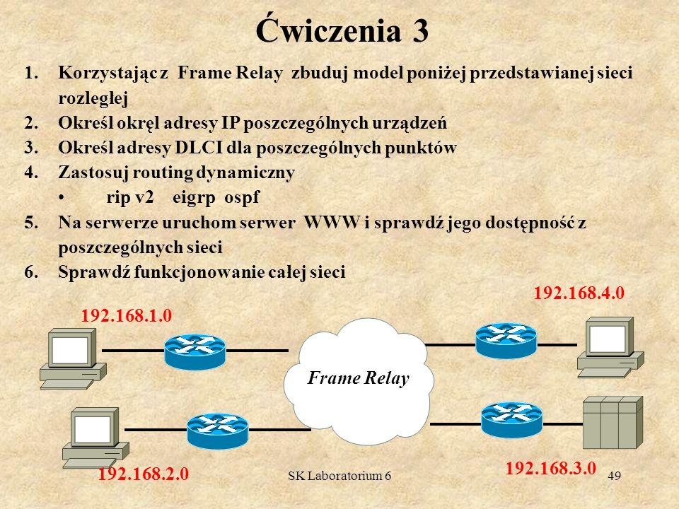 SK Laboratorium 649 Ćwiczenia 3 1.Korzystając z Frame Relay zbuduj model poniżej przedstawianej sieci rozległej 2.Określ okręl adresy IP poszczególnyc