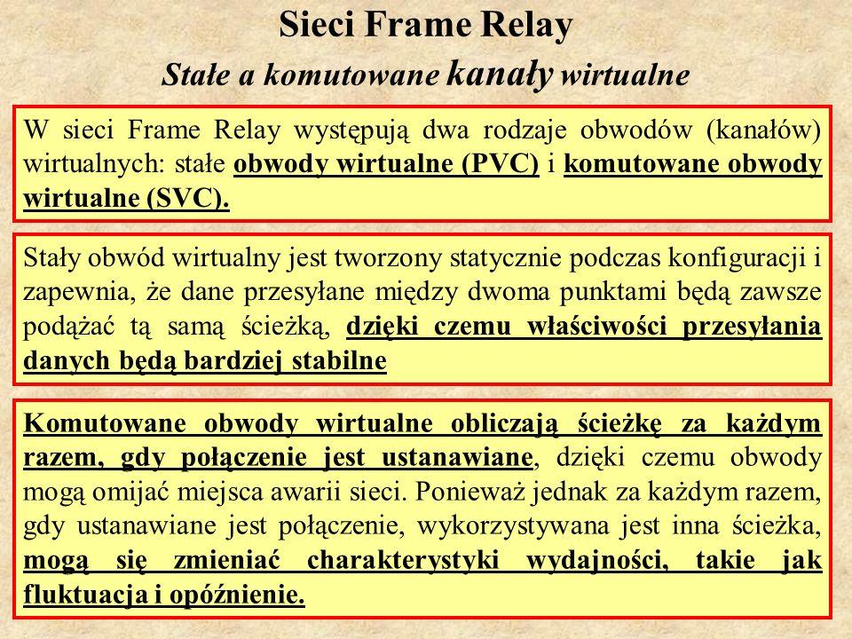 SK Laboratorium 69 Sieci Frame Relay Stałe a komutowane kanały wirtualne W sieci Frame Relay występują dwa rodzaje obwodów (kanałów) wirtualnych: stał