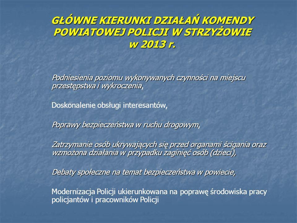 GŁÓWNE KIERUNKI DZIAŁAŃ KOMENDY POWIATOWEJ POLICJI W STRZYŻOWIE w 2013 r. Podniesienia poziomu wykonywanych czynności na miejscu przestępstwa i wykroc