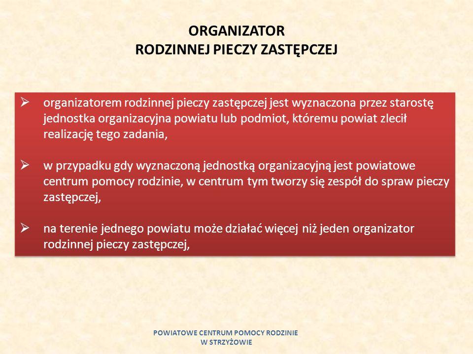 POWIATOWE CENTRUM POMOCY RODZINIE W STRZYŻOWIE ORGANIZATOR RODZINNEJ PIECZY ZASTĘPCZEJ organizatorem rodzinnej pieczy zastępczej jest wyznaczona przez