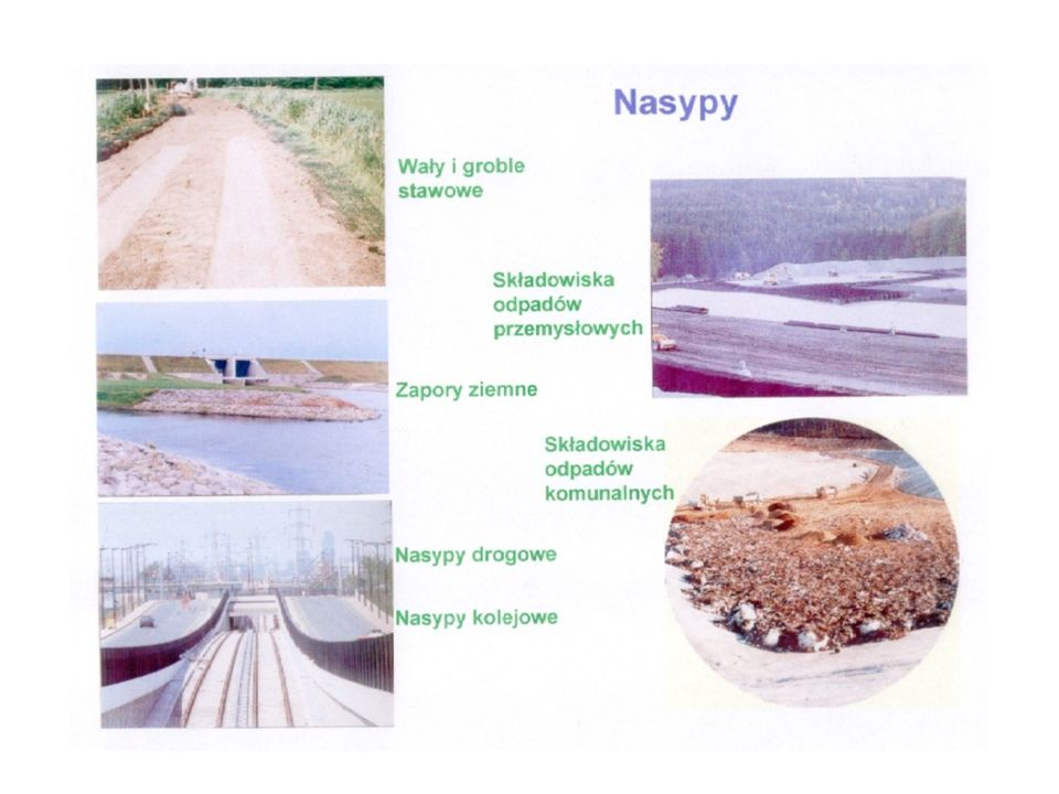 Przygotowanie trasy nasypu Trasę nasypu należy oczyścić z krzaków, drzew i darniny Doły po wykarczowanych drzewach i krzakach powinny być wypełnione zagęszczonym gruntem Starorzecza, rowy i doły potorfowe należy wykosić jeśli są suche i oczyścić z krzaków, a następnie wypełnić gruntem przeznaczonym do budowy nasypu zagęszczonym zgodnie z zasadami ustalonymi dla nasypu, z ewentualnym wzmocnieniem geowłókniną Geowłókniną wykłada się dno wyrobiska, po usunięciu z dna i skarp roślinności lub po usunięciu płynnych osadów, aż do naturalnego podłoża Po zasypaniu wyrobisk gruntem miejscowym zaleca się ułożenie drugiej warstwy geowłókniny, na której wykonany zostanie właściwy korpus nasypu Przygotowanie terenu odkładu Należy zlokalizować w pobliżu trasy nasypu, najlepiej w bezpośrednim sąsiedztwie Teren odkładu należy oczyścić z krzaków, drzew, głazów itp.
