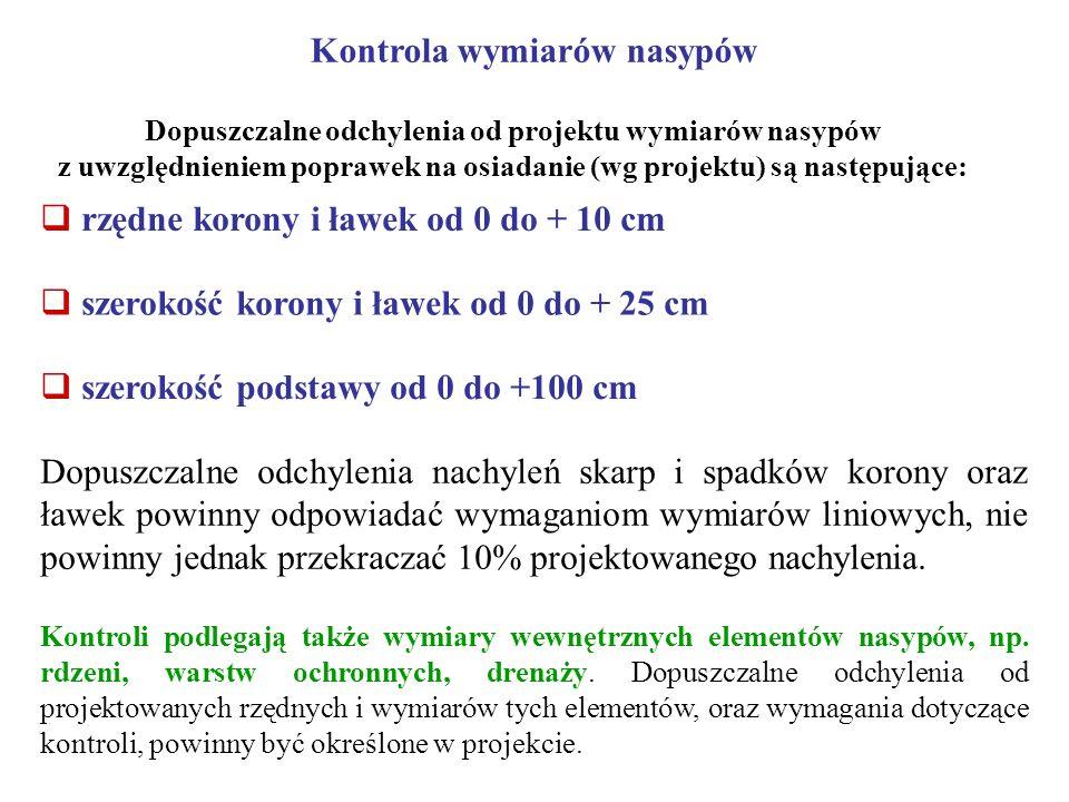 Kontrola wymiarów nasypów Dopuszczalne odchylenia od projektu wymiarów nasypów z uwzględnieniem poprawek na osiadanie (wg projektu) są następujące: rz