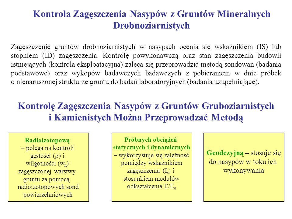 Kontrola Zagęszczenia Nasypów z Gruntów Mineralnych Drobnoziarnistych Zagęszczenie gruntów drobnoziarnistych w nasypach ocenia się wskaźnikiem (IS) lu