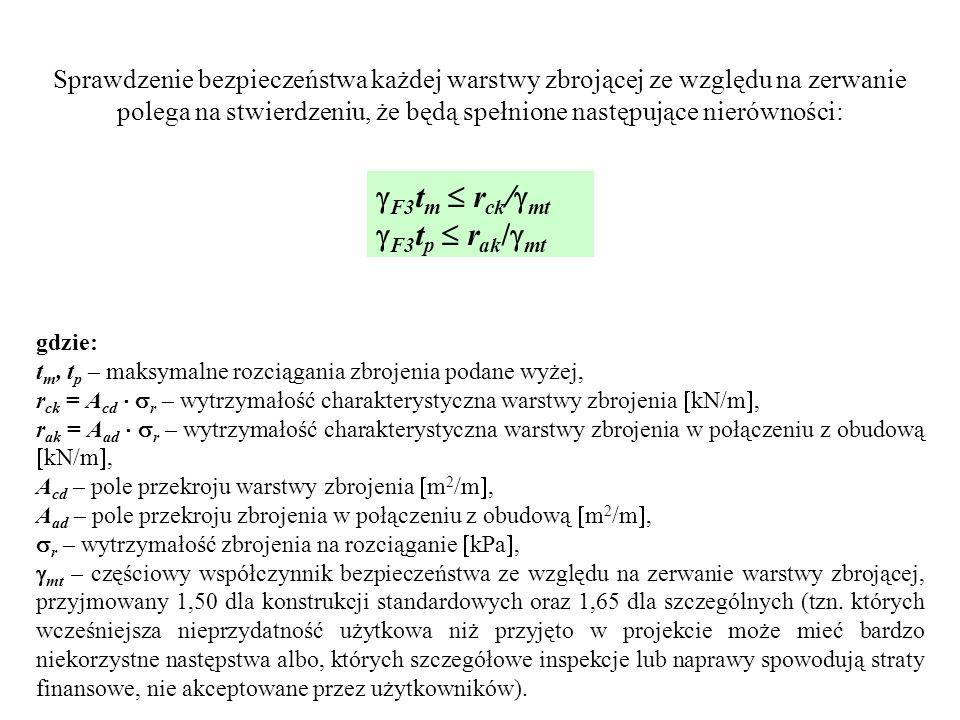 Sprawdzenie bezpieczeństwa każdej warstwy zbrojącej ze względu na zerwanie polega na stwierdzeniu, że będą spełnione następujące nierówności: F3 t m r ck / mt F3 t p r ak / mt gdzie: t m, t p – maksymalne rozciągania zbrojenia podane wyżej, r ck = A cd r – wytrzymałość charakterystyczna warstwy zbrojenia kN/m, r ak = A ad r – wytrzymałość charakterystyczna warstwy zbrojenia w połączeniu z obudową kN/m, A cd – pole przekroju warstwy zbrojenia m 2 /m, A ad – pole przekroju zbrojenia w połączeniu z obudową m 2 /m, r – wytrzymałość zbrojenia na rozciąganie kPa, mt – częściowy współczynnik bezpieczeństwa ze względu na zerwanie warstwy zbrojącej, przyjmowany 1,50 dla konstrukcji standardowych oraz 1,65 dla szczególnych (tzn.