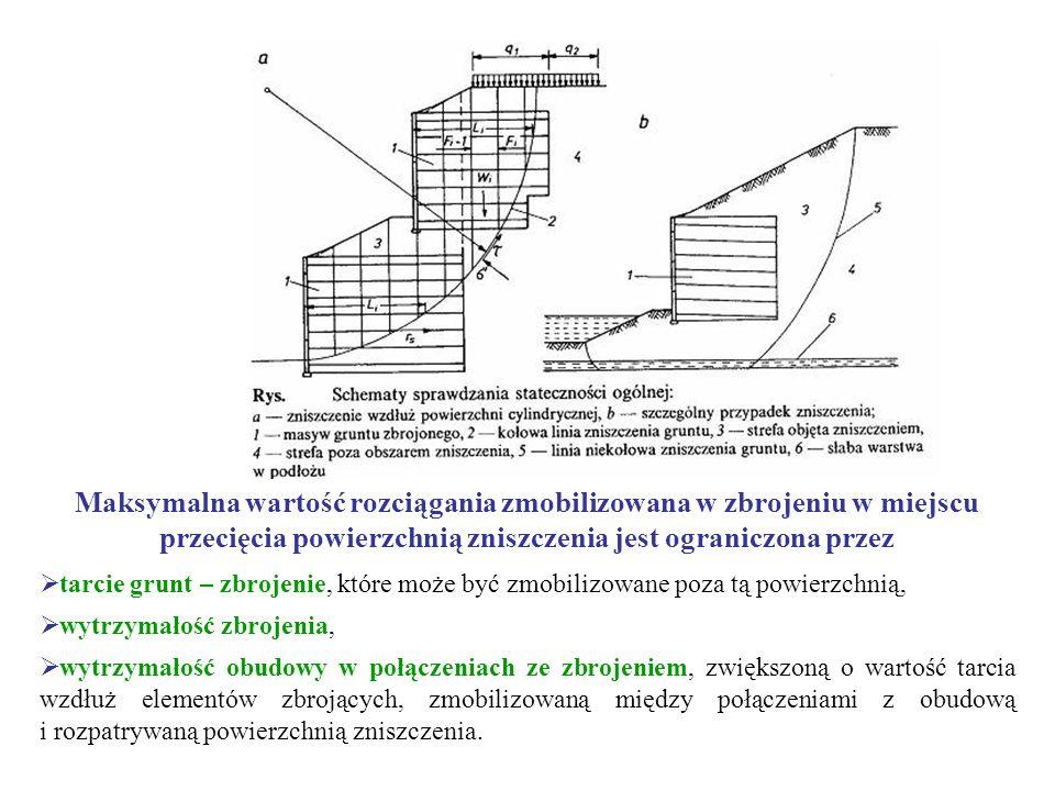 Maksymalna wartość rozciągania zmobilizowana w zbrojeniu w miejscu przecięcia powierzchnią zniszczenia jest ograniczona przez tarcie grunt – zbrojenie, które może być zmobilizowane poza tą powierzchnią, wytrzymałość zbrojenia, wytrzymałość obudowy w połączeniach ze zbrojeniem, zwiększoną o wartość tarcia wzdłuż elementów zbrojących, zmobilizowaną między połączeniami z obudową i rozpatrywaną powierzchnią zniszczenia.