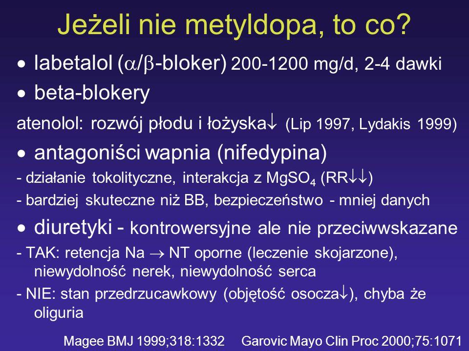 Jeżeli nie metyldopa, to co? labetalol ( / -bloker) 200-1200 mg/d, 2-4 dawki beta-blokery atenolol: rozwój płodu i łożyska (Lip 1997, Lydakis 1999) an