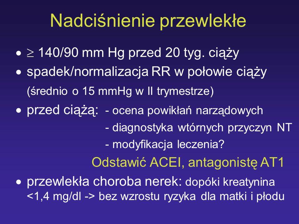 Nadciśnienie przewlekłe 140/90 mm Hg przed 20 tyg. ciąży spadek/normalizacja RR w połowie ciąży (średnio o 15 mmHg w II trymestrze) przed ciążą: - oce