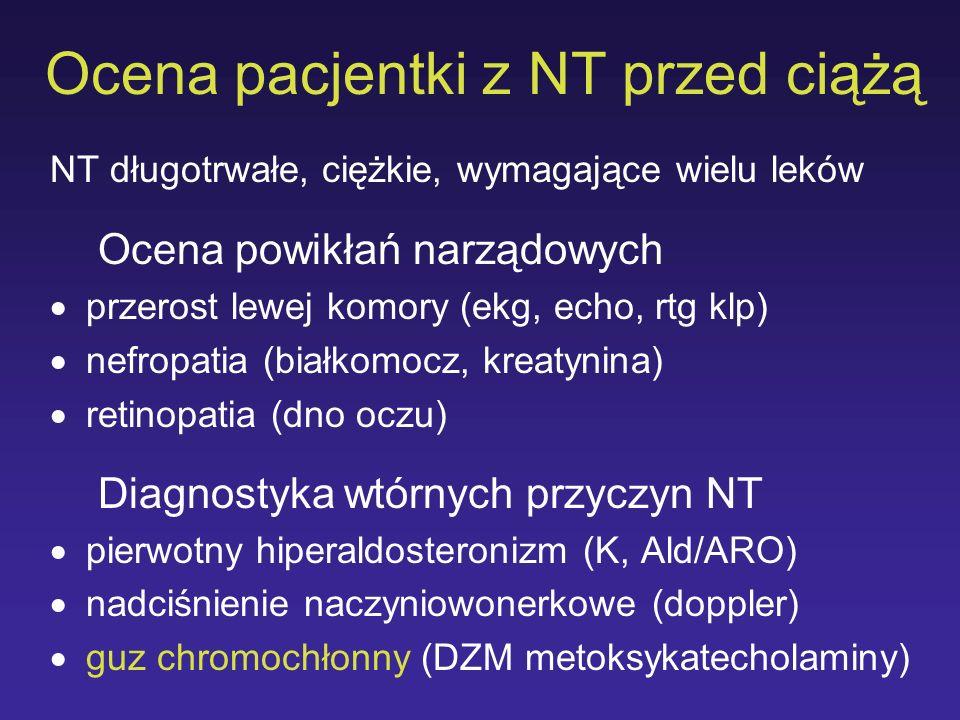 Ocena pacjentki z NT przed ciążą NT długotrwałe, ciężkie, wymagające wielu leków Ocena powikłań narządowych przerost lewej komory (ekg, echo, rtg klp)