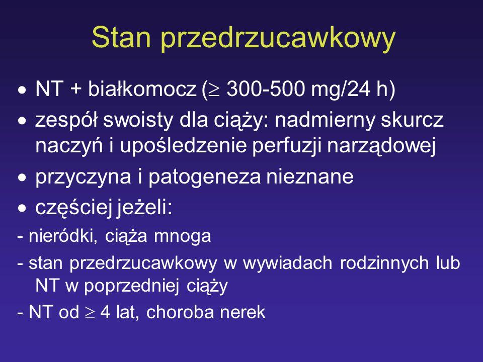 Stan przedrzucawkowy NT + białkomocz ( 300-500 mg/24 h) zespół swoisty dla ciąży: nadmierny skurcz naczyń i upośledzenie perfuzji narządowej przyczyna