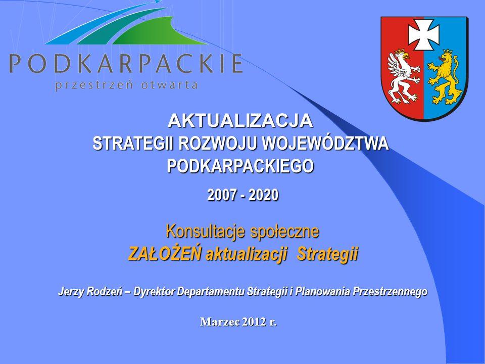 AKTUALIZACJA STRATEGII ROZWOJU WOJEWÓDZTWA PODKARPACKIEGO 2007 - 2020 2007 - 2020 Marzec 2012 r. Konsultacje społeczne ZAŁOŻEŃ aktualizacji Strategii