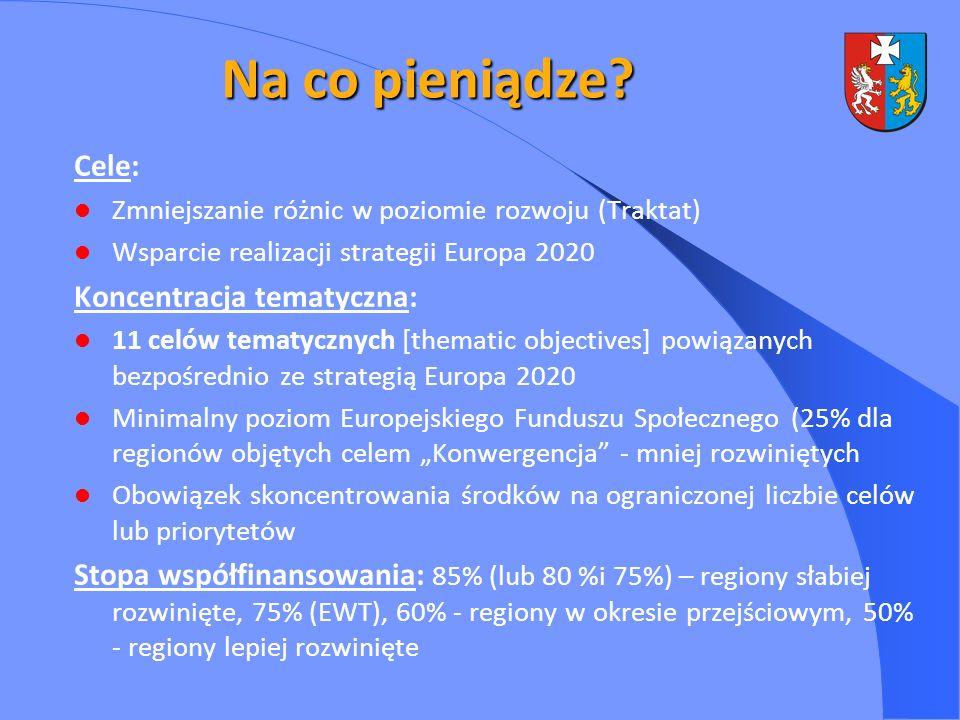 Na co pieniądze? Cele: Zmniejszanie różnic w poziomie rozwoju (Traktat) Wsparcie realizacji strategii Europa 2020 Koncentracja tematyczna: 11 celów te