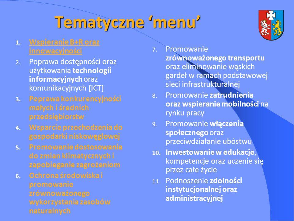 Tematyczne menu 1. Wspieranie B+R oraz innowacyjności 2. Poprawa dostępności oraz użytkowania technologii informacyjnych oraz komunikacyjnych [ICT] 3.