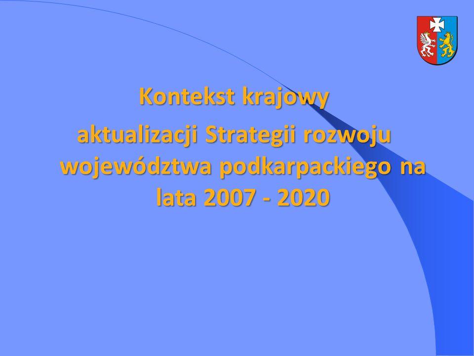 Kontekst krajowy aktualizacji Strategii rozwoju województwa podkarpackiego na lata 2007 - 2020