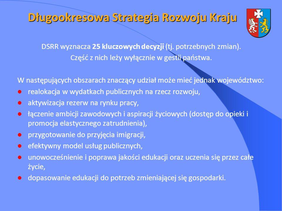 DSRR wyznacza 25 kluczowych decyzji (tj. potrzebnych zmian). Część z nich leży wyłącznie w gestii państwa. W następujących obszarach znaczący udział m