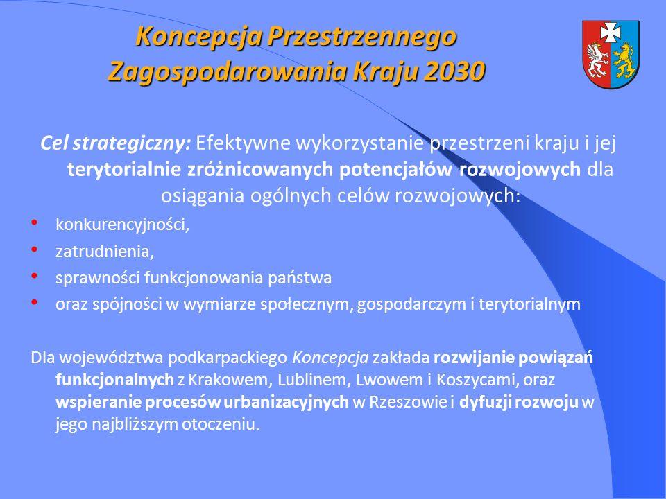 Koncepcja Przestrzennego Zagospodarowania Kraju 2030 Cel strategiczny: Efektywne wykorzystanie przestrzeni kraju i jej terytorialnie zróżnicowanych potencjałów rozwojowych dla osiągania ogólnych celów rozwojowych : konkurencyjności, zatrudnienia, sprawności funkcjonowania państwa oraz spójności w wymiarze społecznym, gospodarczym i terytorialnym Dla województwa podkarpackiego Koncepcja zakłada rozwijanie powiązań funkcjonalnych z Krakowem, Lublinem, Lwowem i Koszycami, oraz wspieranie procesów urbanizacyjnych w Rzeszowie i dyfuzji rozwoju w jego najbliższym otoczeniu.