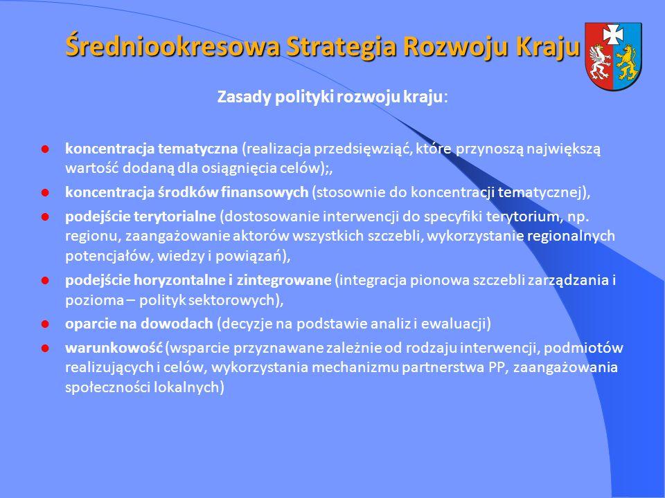 Średniookresowa Strategia Rozwoju Kraju Zasady polityki rozwoju kraju: koncentracja tematyczna (realizacja przedsięwziąć, które przynoszą największą wartość dodaną dla osiągnięcia celów);, koncentracja środków finansowych (stosownie do koncentracji tematycznej), podejście terytorialne (dostosowanie interwencji do specyfiki terytorium, np.