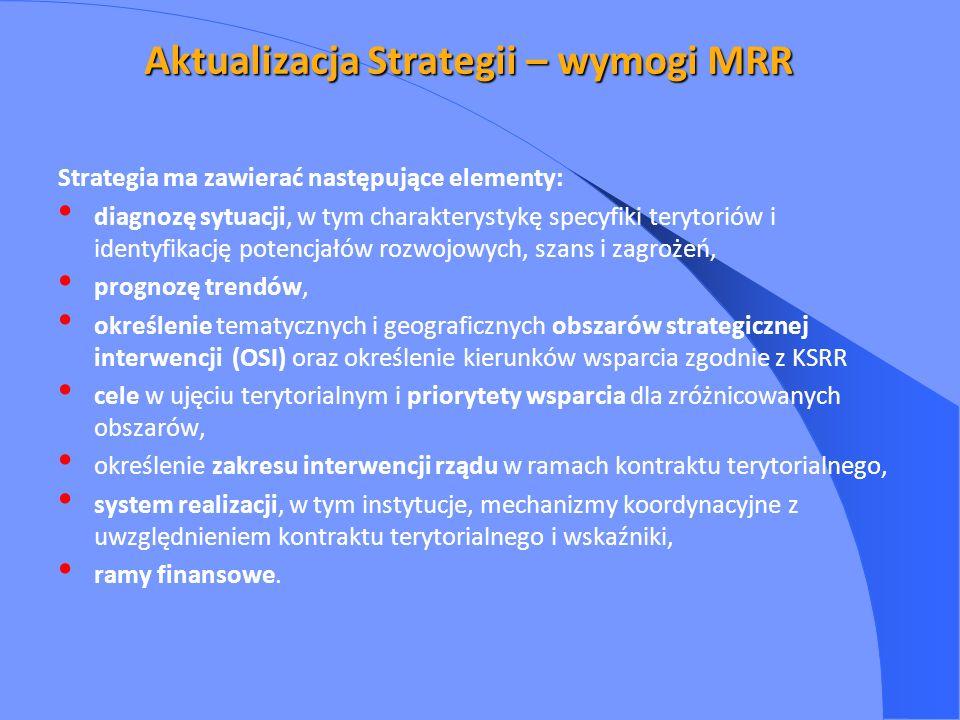 Aktualizacja Strategii – wymogi MRR Strategia ma zawierać następujące elementy: diagnozę sytuacji, w tym charakterystykę specyfiki terytoriów i identyfikację potencjałów rozwojowych, szans i zagrożeń, prognozę trendów, określenie tematycznych i geograficznych obszarów strategicznej interwencji (OSI) oraz określenie kierunków wsparcia zgodnie z KSRR cele w ujęciu terytorialnym i priorytety wsparcia dla zróżnicowanych obszarów, określenie zakresu interwencji rządu w ramach kontraktu terytorialnego, system realizacji, w tym instytucje, mechanizmy koordynacyjne z uwzględnieniem kontraktu terytorialnego i wskaźniki, ramy finansowe.