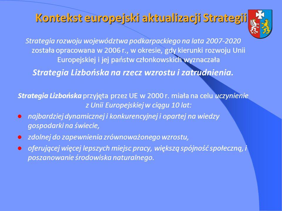 Kontekst europejski aktualizacji Strategii Strategia rozwoju województwa podkarpackiego na lata 2007-2020 została opracowana w 2006 r., w okresie, gdy kierunki rozwoju Unii Europejskiej i jej państw członkowskich wyznaczała Strategia Lizbońska na rzecz wzrostu i zatrudnienia.
