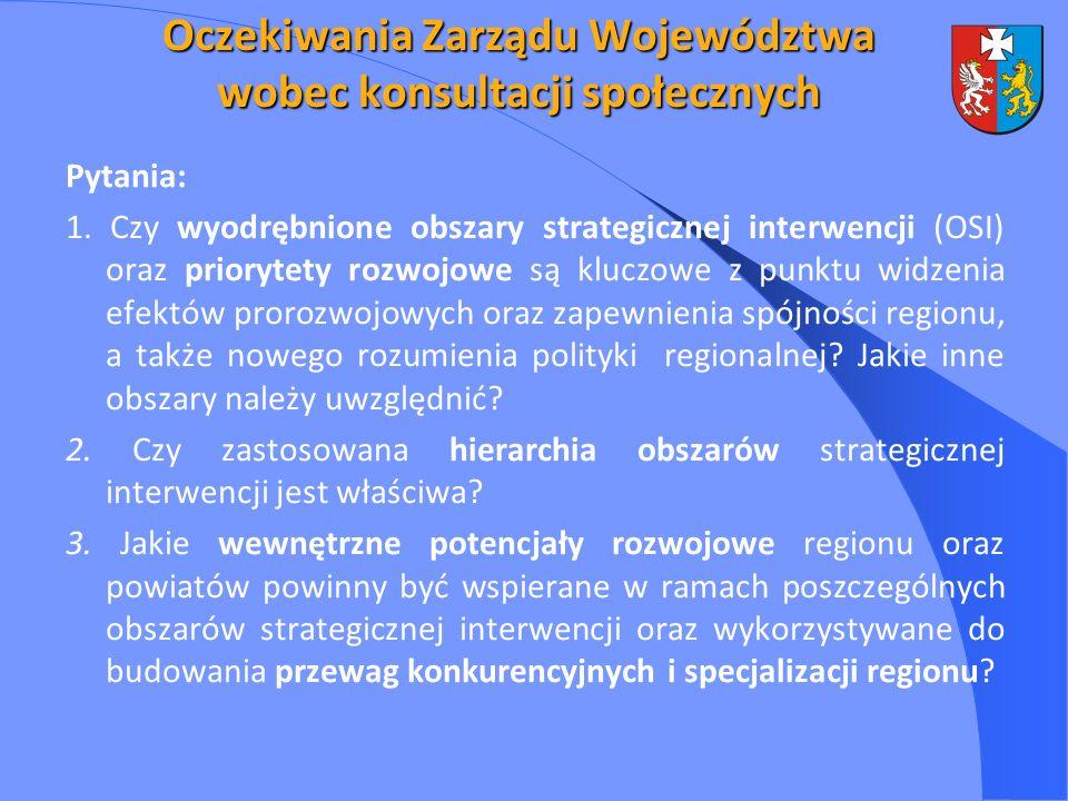 Oczekiwania Zarządu Województwa wobec konsultacji społecznych Pytania: 1. Czy wyodrębnione obszary strategicznej interwencji (OSI) oraz priorytety roz