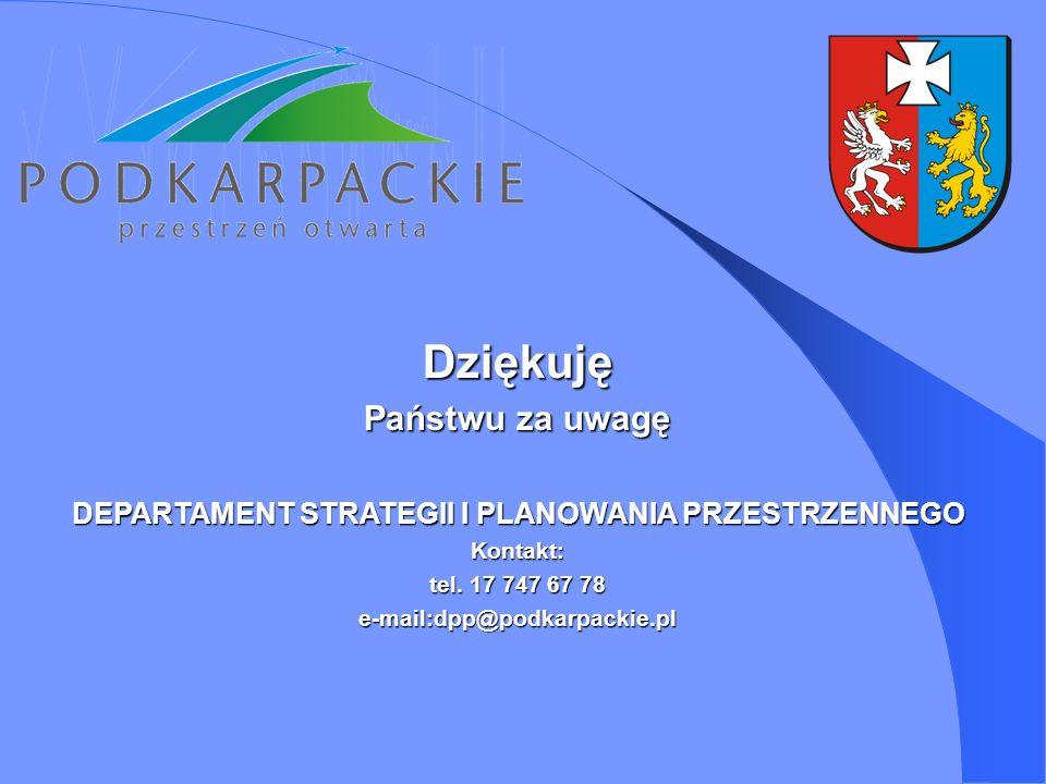 Dziękuję Państwu za uwagę DEPARTAMENT STRATEGII I PLANOWANIA PRZESTRZENNEGO Kontakt: tel. 17 747 67 78 e-mail:dpp@podkarpackie.pl