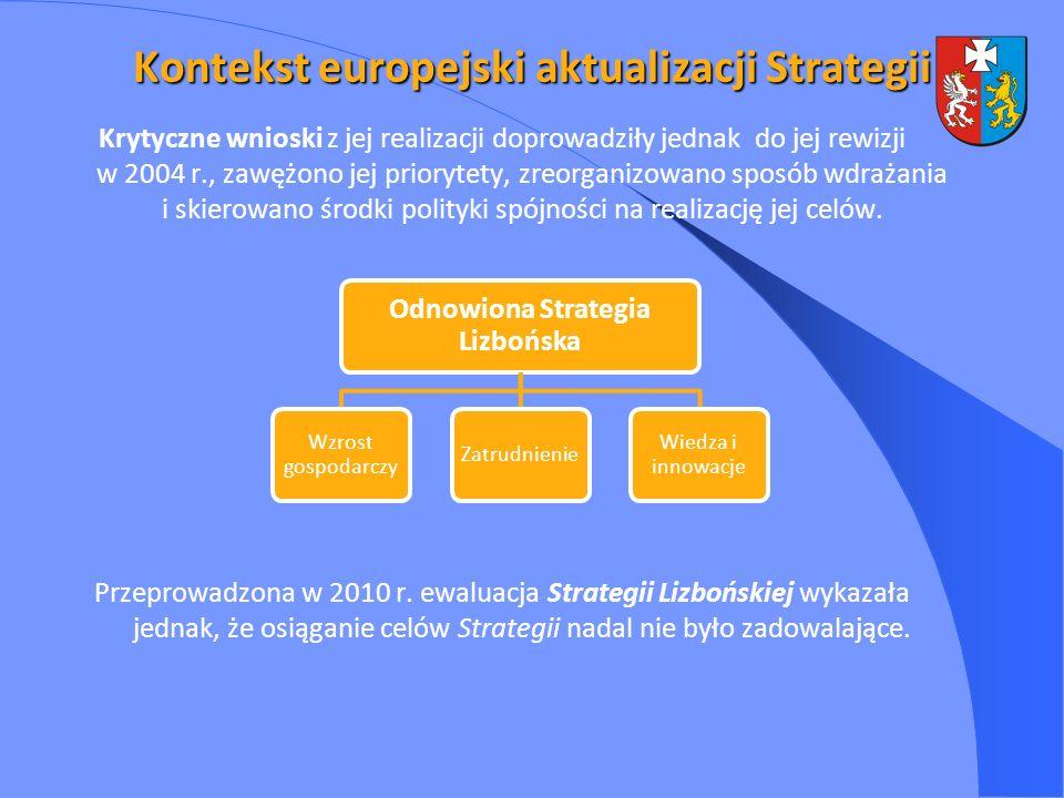 Kontekst europejski aktualizacji Strategii Krytyczne wnioski z jej realizacji doprowadziły jednak do jej rewizji w 2004 r., zawężono jej priorytety, zreorganizowano sposób wdrażania i skierowano środki polityki spójności na realizację jej celów.