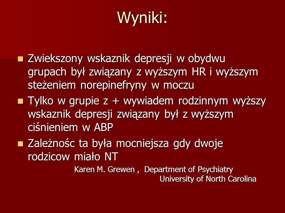 Wyniki: Zwiekszony wskaznik depresji w obydwu grupach był związany z wyższym HR i wyższym steżeniem norepinefryny w moczu Zwiekszony wskaznik depresji
