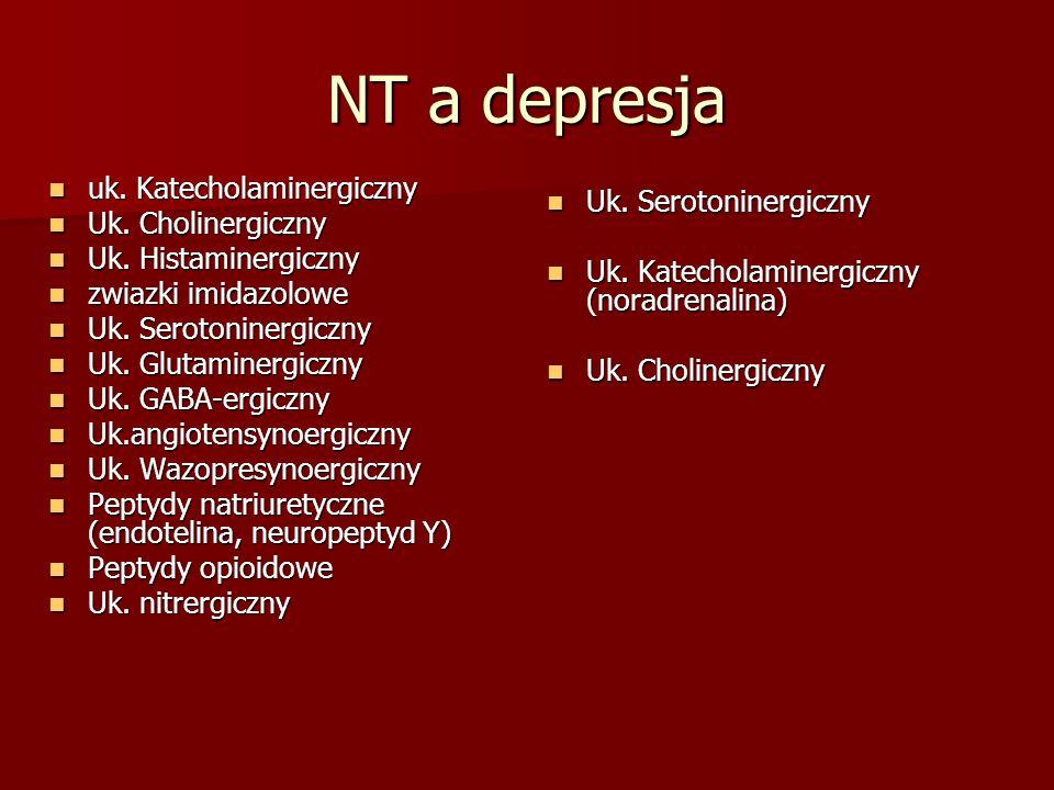 NT a depresja uk. Katecholaminergiczny uk. Katecholaminergiczny Uk. Cholinergiczny Uk. Cholinergiczny Uk. Histaminergiczny Uk. Histaminergiczny zwiazk