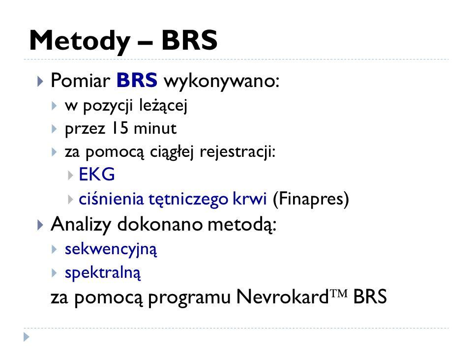 Metody – BRS Pomiar BRS wykonywano: w pozycji leżącej przez 15 minut za pomocą ciągłej rejestracji: EKG ciśnienia tętniczego krwi (Finapres) Analizy dokonano metodą: sekwencyjną spektralną za pomocą programu Nevrokard BRS