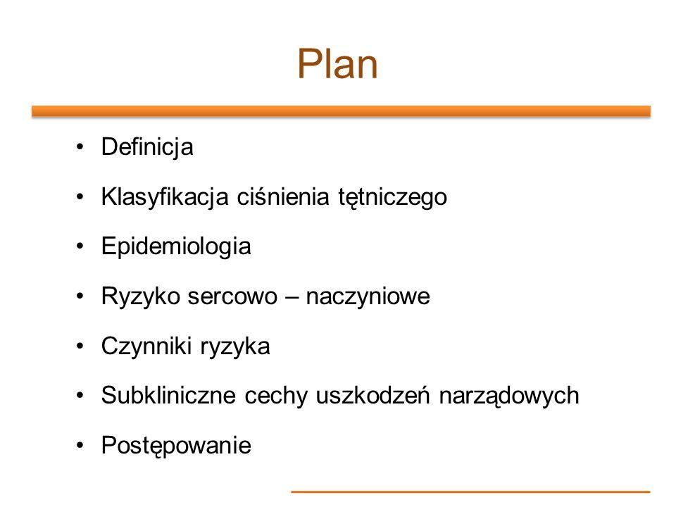 Plan Definicja Klasyfikacja ciśnienia tętniczego Epidemiologia Ryzyko sercowo – naczyniowe Czynniki ryzyka Subkliniczne cechy uszkodzeń narządowych Po