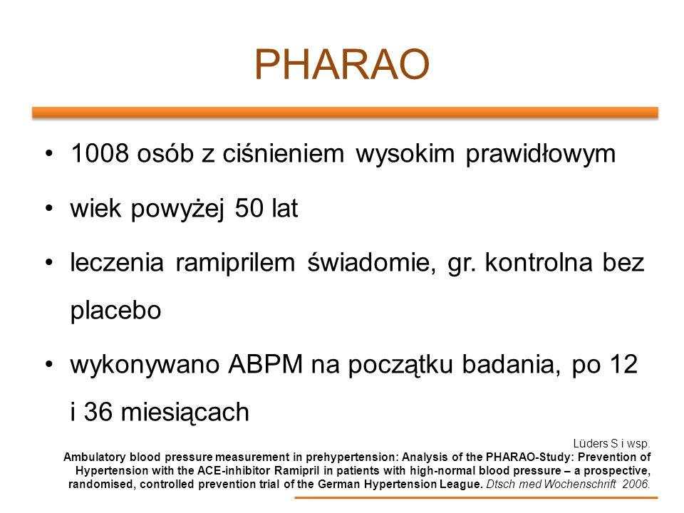 PHARAO 1008 osób z ciśnieniem wysokim prawidłowym wiek powyżej 50 lat leczenia ramiprilem świadomie, gr. kontrolna bez placebo wykonywano ABPM na pocz