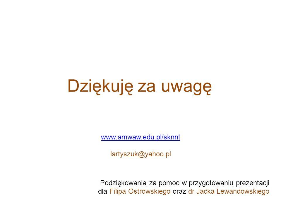 Dziękuję za uwagę Podziękowania za pomoc w przygotowaniu prezentacji dla Filipa Ostrowskiego oraz dr Jacka Lewandowskiego www.amwaw.edu.pl/sknnt larty