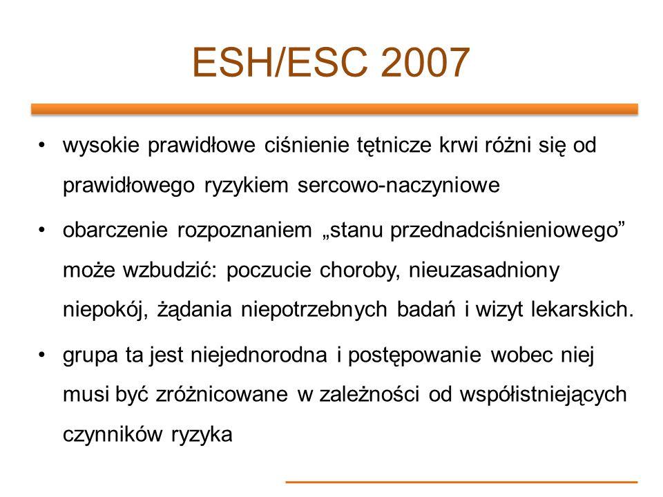 ESH/ESC 2007 wysokie prawidłowe ciśnienie tętnicze krwi różni się od prawidłowego ryzykiem sercowo-naczyniowe obarczenie rozpoznaniem stanu przednadci