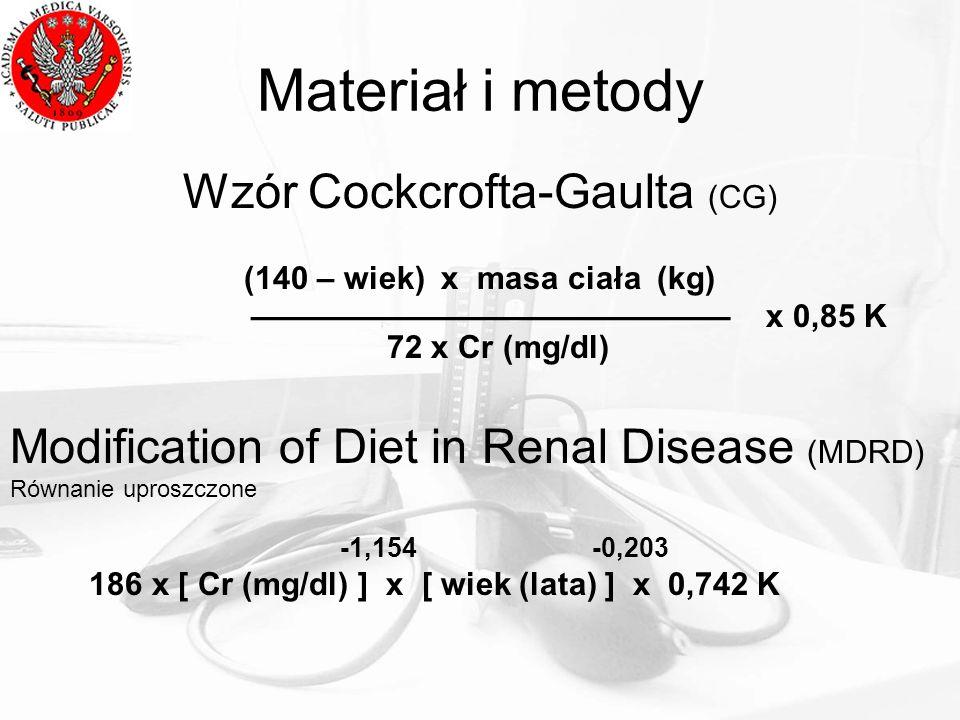 Materiał i metody Wzór Cockcrofta-Gaulta (CG) (140 – wiek) x masa ciała (kg) x 0,85 K 72 x Cr (mg/dl) Modification of Diet in Renal Disease (MDRD) Rów